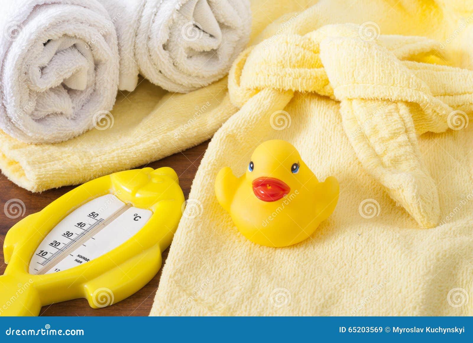 Badhanddoeken en Geel rubber duckies