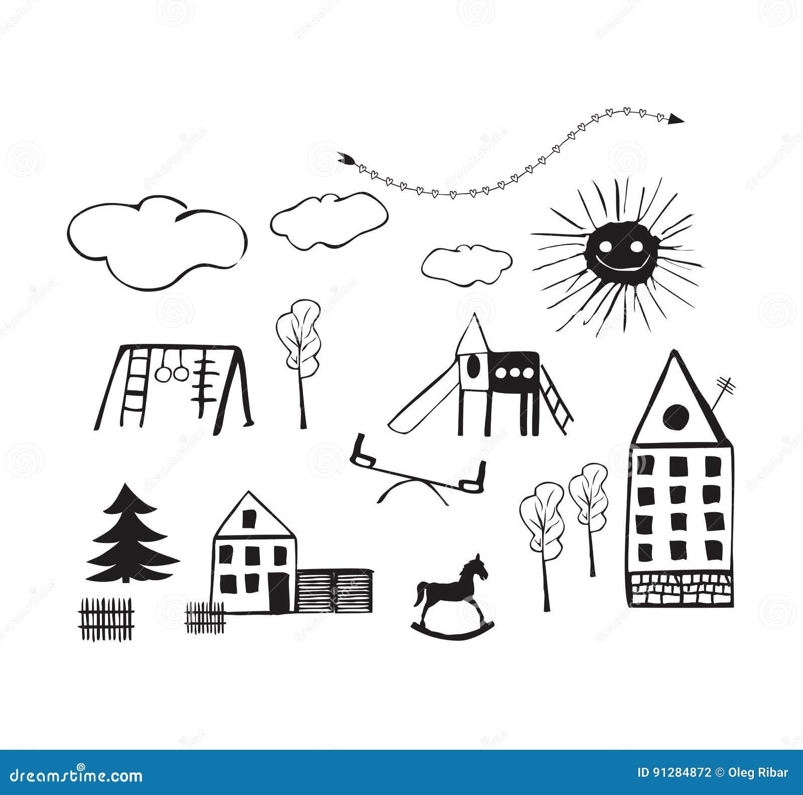 Dessin D Une Chambre D Enfant badine des dessins des terrains de jeu, des chambres, des