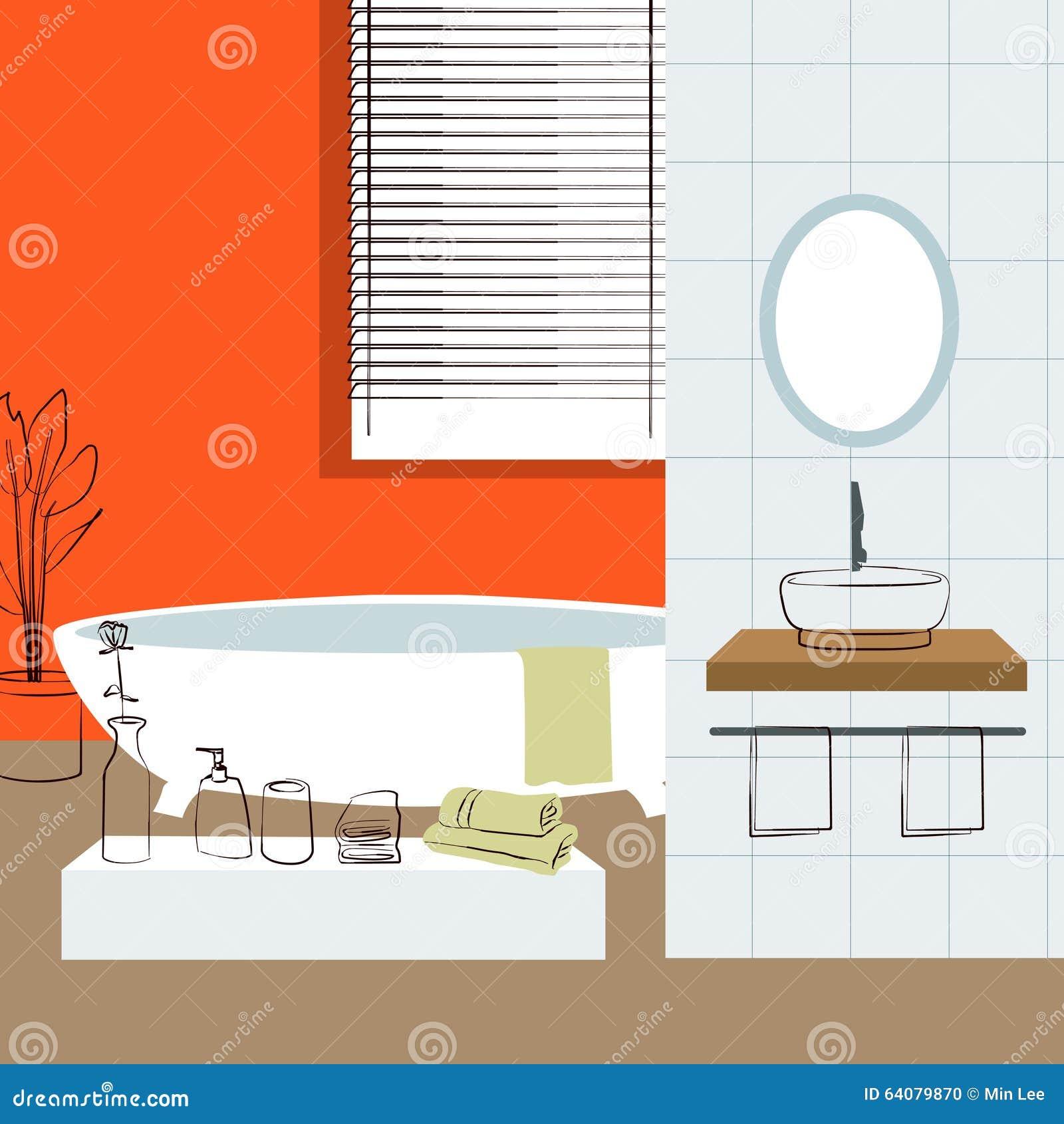 Badkamers binnenlands binnenlands ontwerp vector illustratie afbeelding 64079870 - Badkuip ontwerp ...