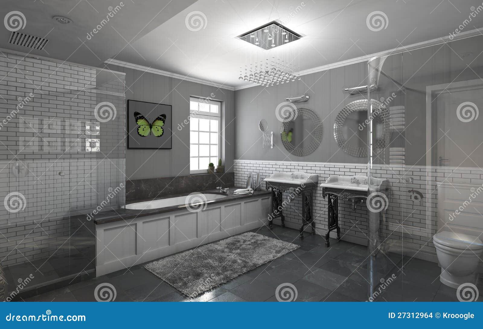 Badkamers in grijs stock afbeeldingen afbeelding 27312964 - Badkamers ...