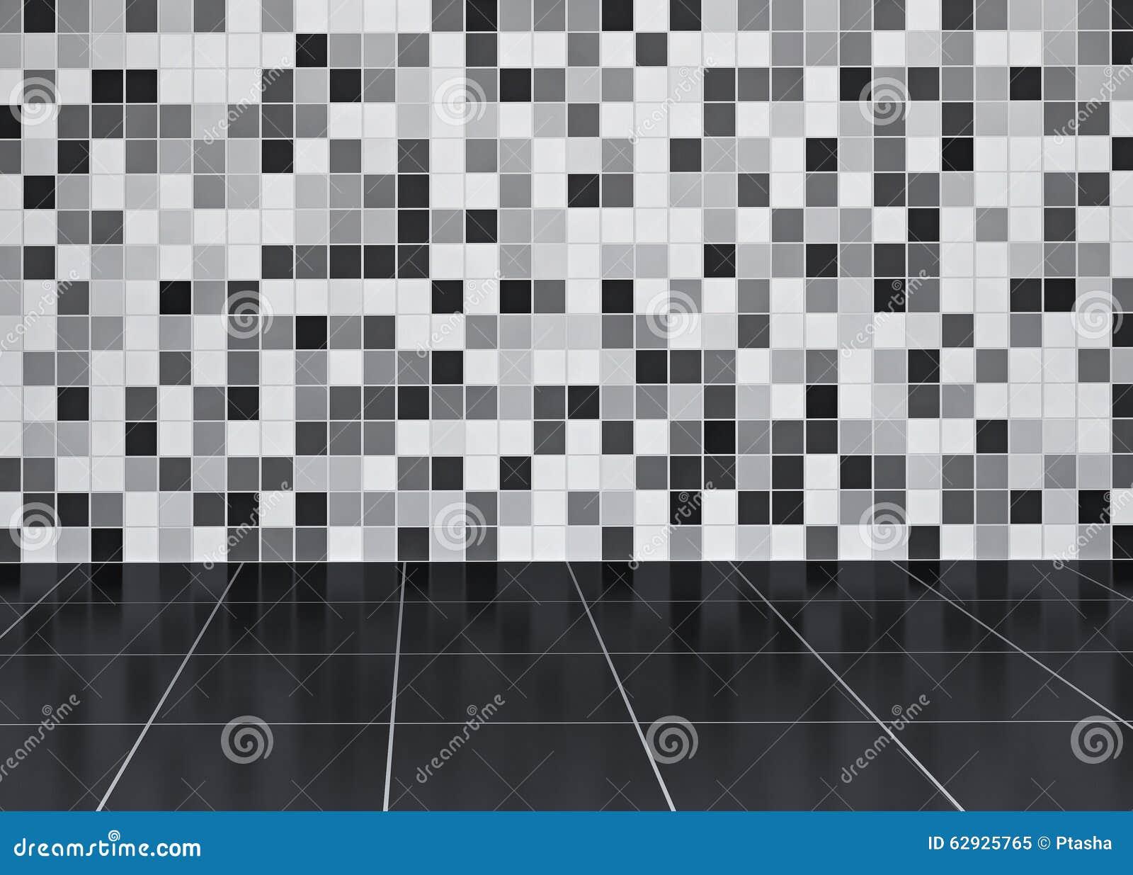 Badkamers met betegelde muur en vloer stock illustratie afbeelding 62925765 - Badkamer betegelde vloer ...