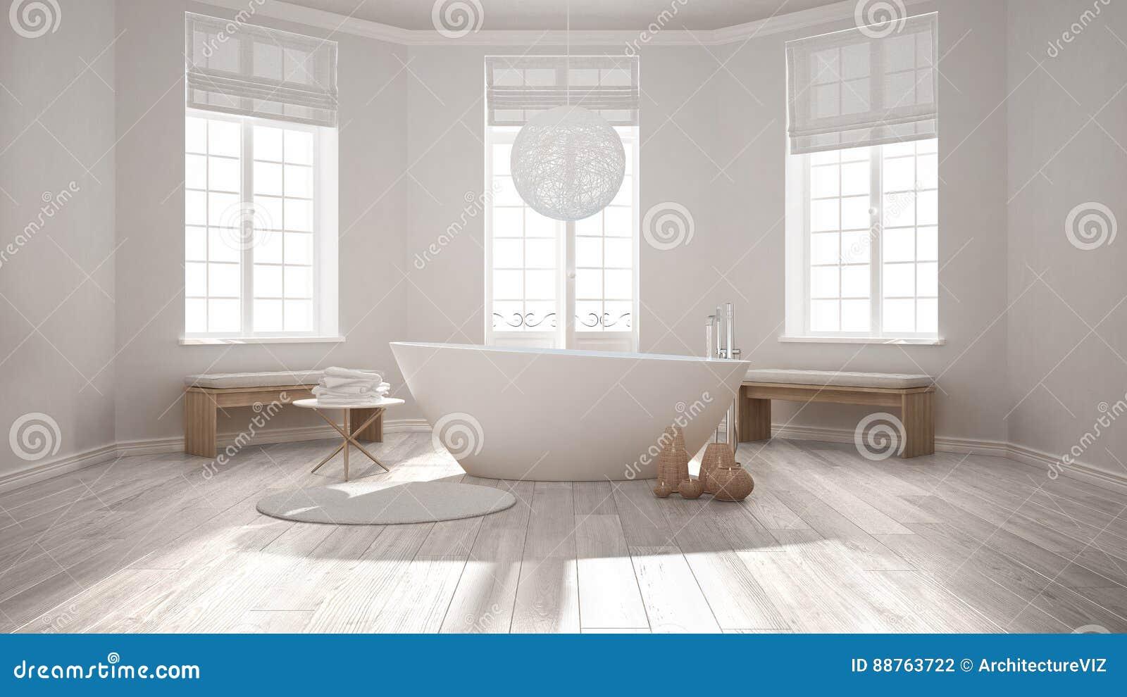 Badkamers van het zen de klassieke kuuroord met badkuip