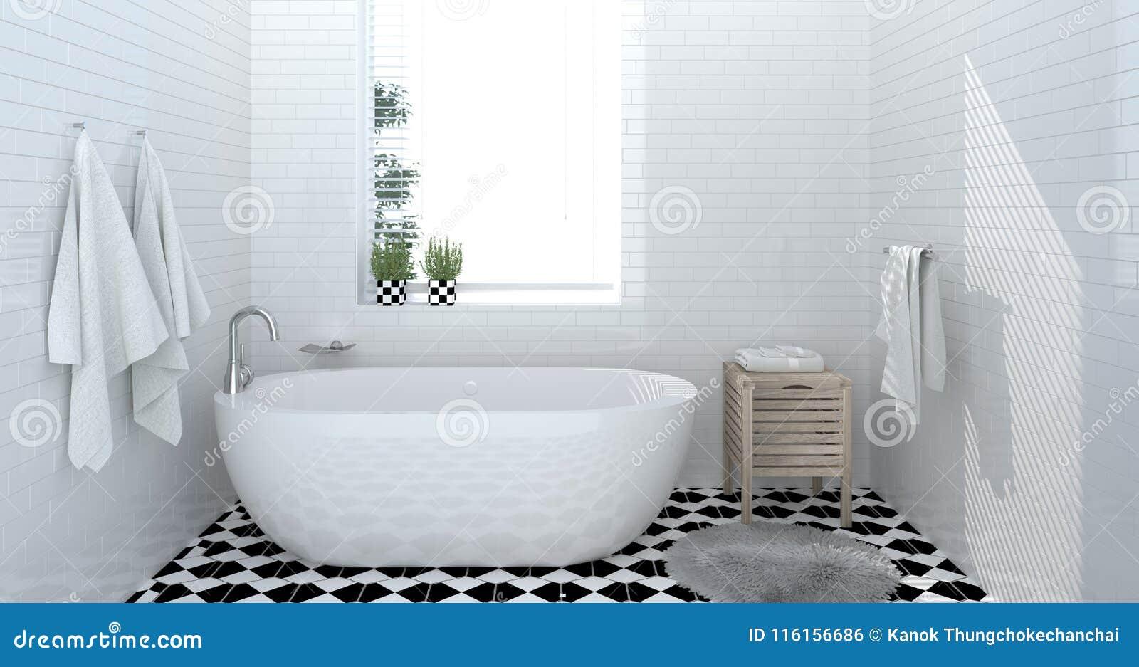 Badkamersbinnenland, toilet, douche, het moderne huisontwerp 3d teruggeven voor exemplaar ruimte achtergrond witte tegelbadkamers