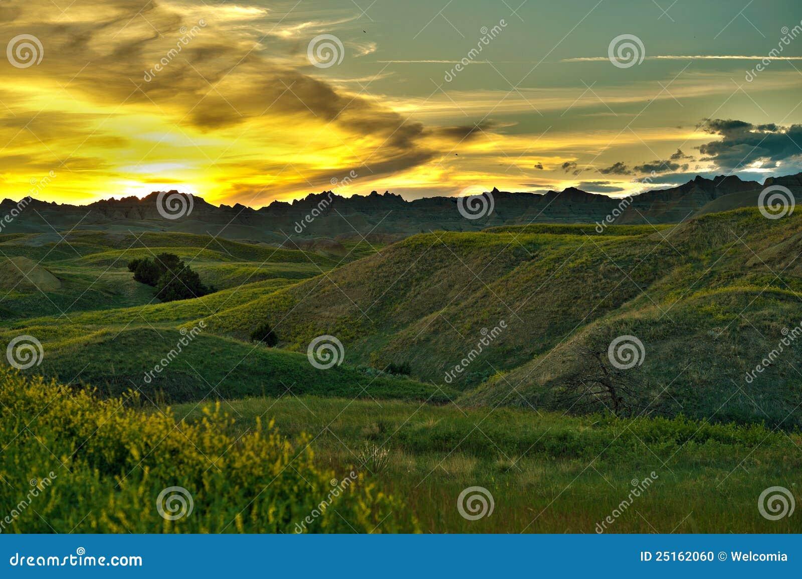 Badlands scenerii zmierzch