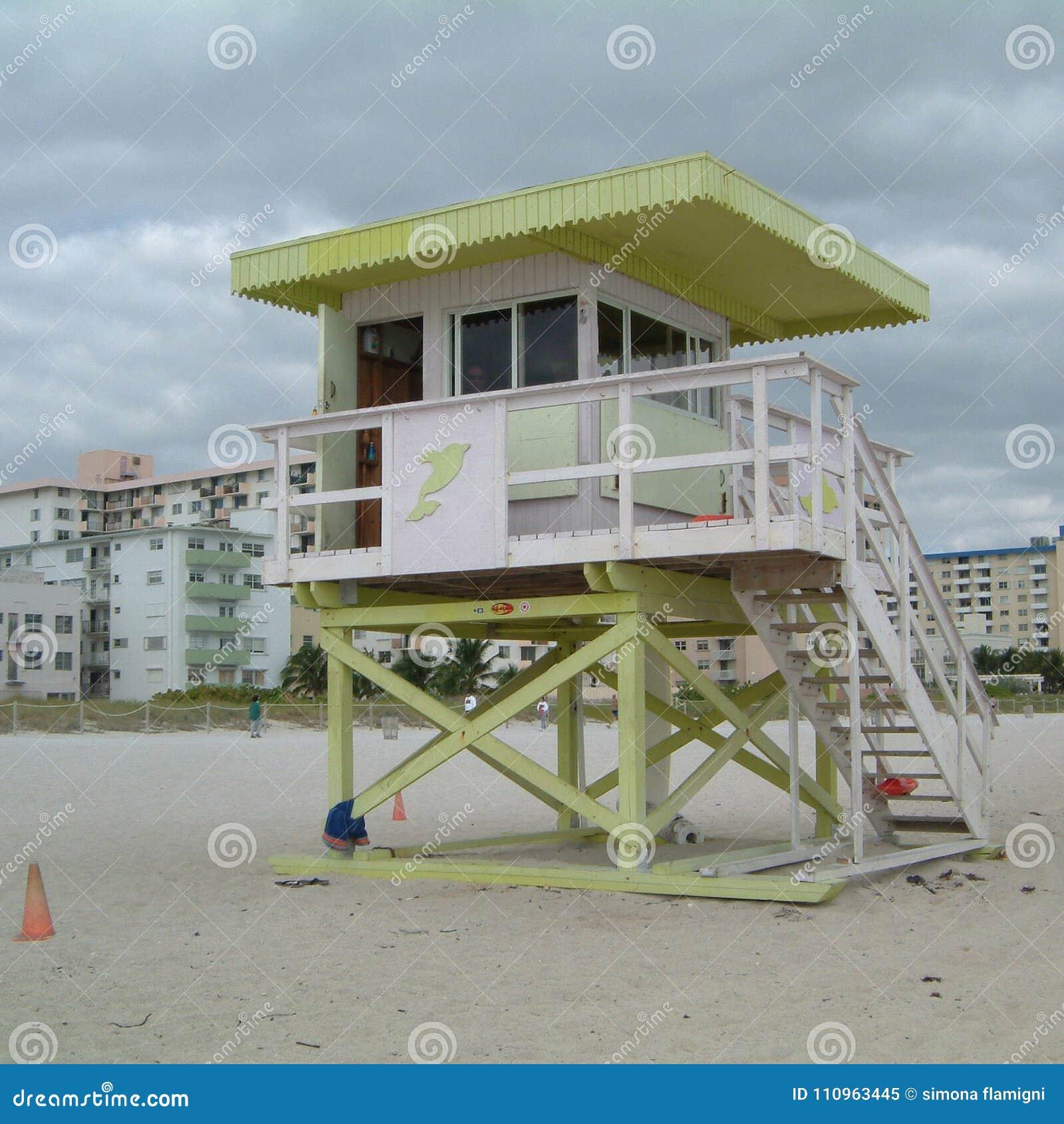 Badmeester in het strand van Miami