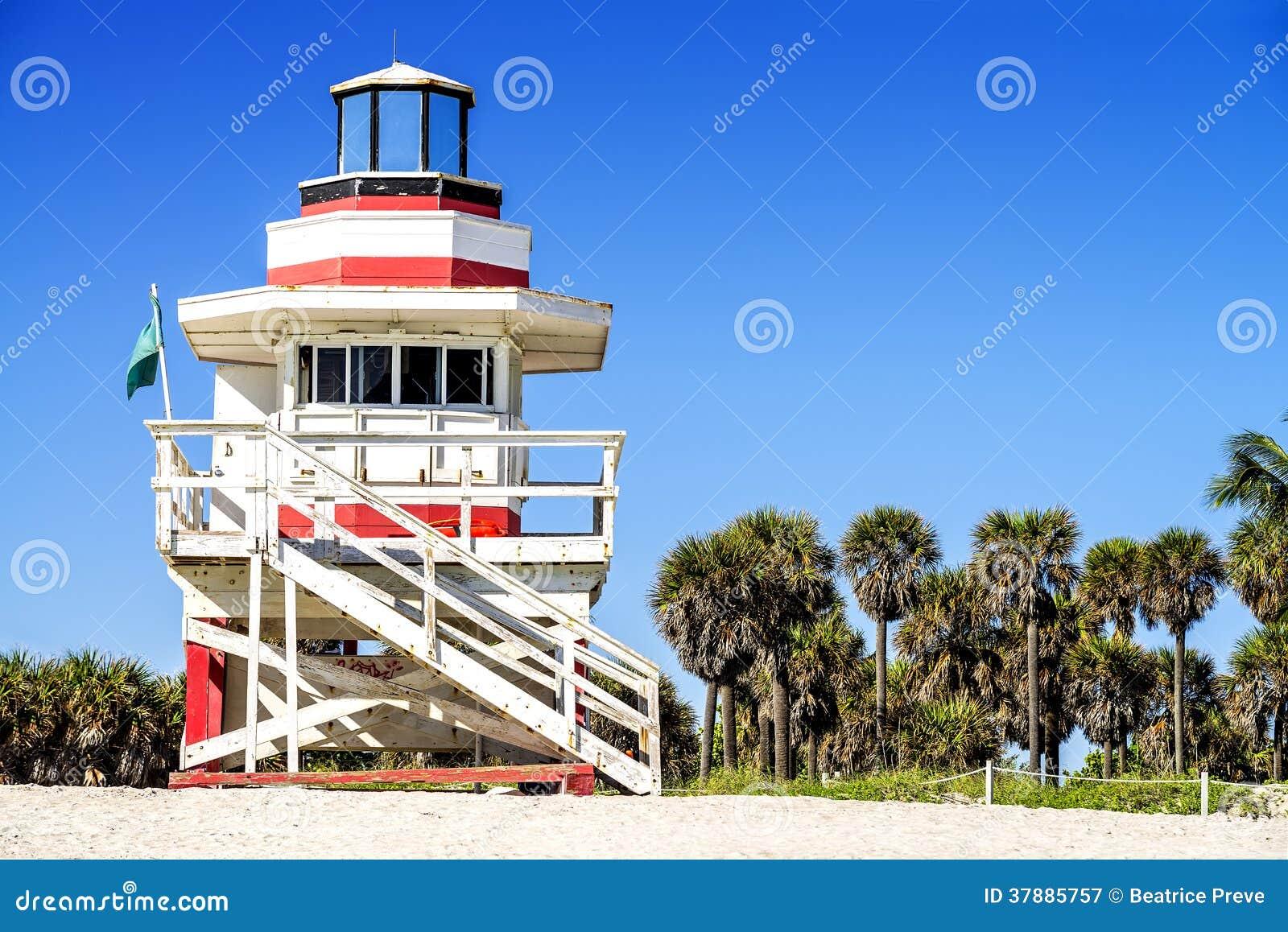 Badmeester Tower, het Strand van Miami, Florida