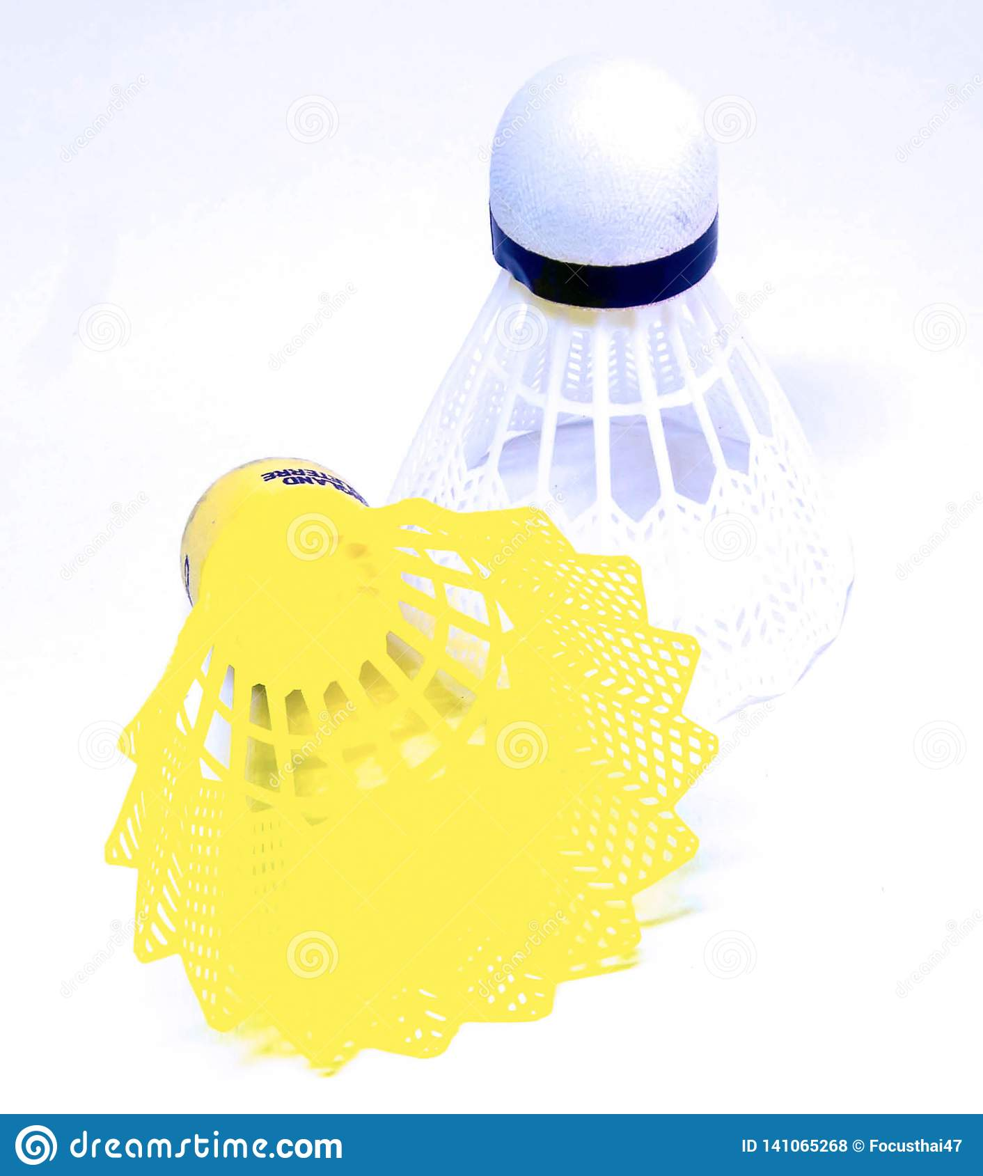 Badminton balls in white and yellow color