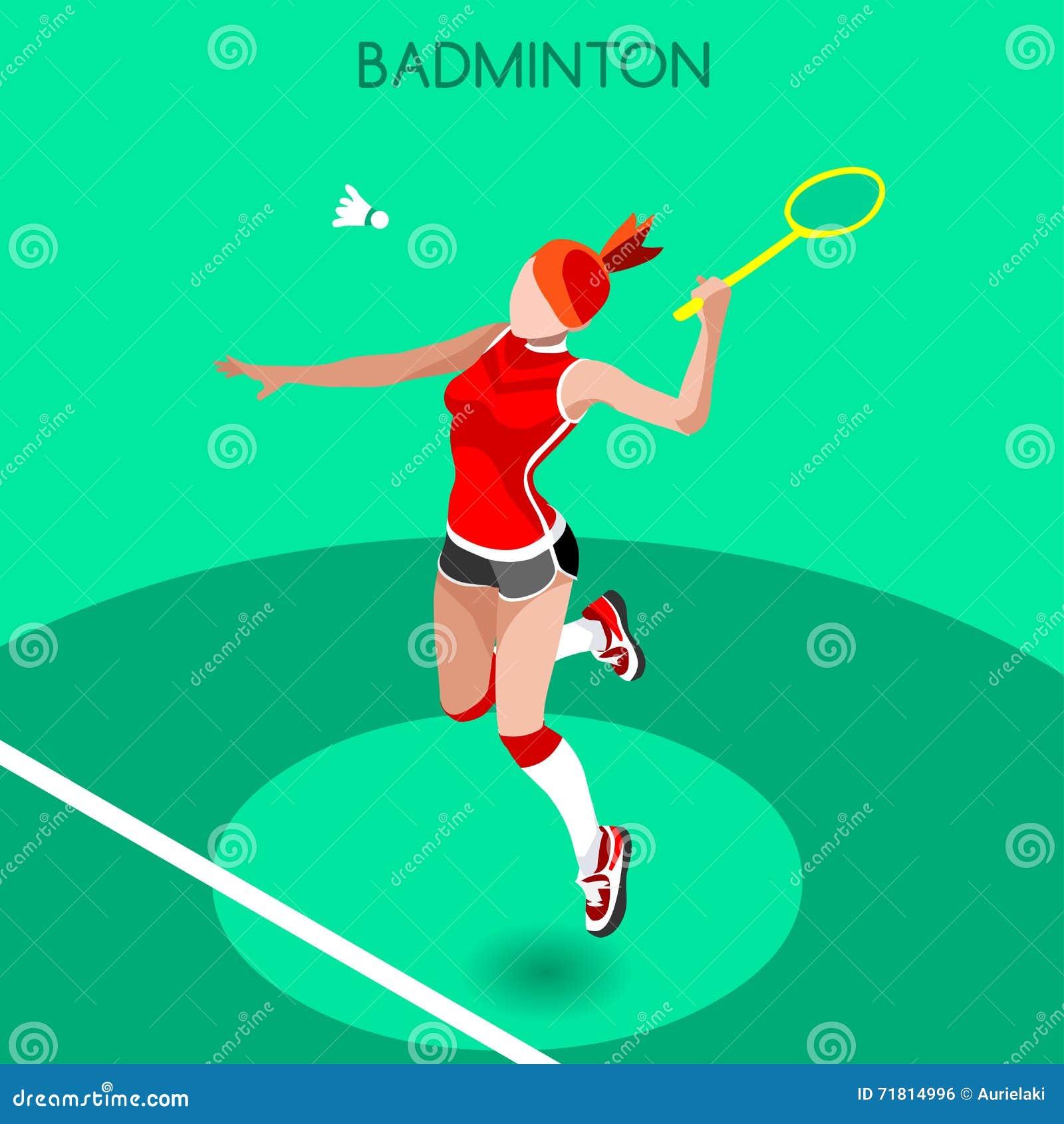 Badminton gracza lata gier ikony set 3D Badminton Isometric gracz Sportowego mistrzostwa Badminton Międzynarodowa rywalizacja