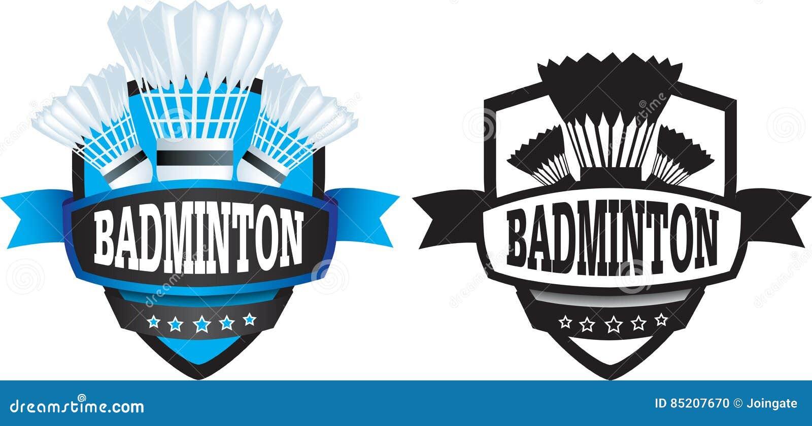 Badminton Logo Or Badge, Shield Or Branding Stock Vector