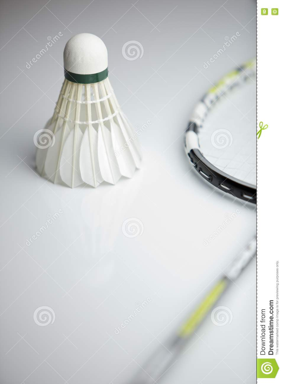 Badminton shuttlecock and racket on white background  shallow DOF    Badminton Racket And Shuttlecock