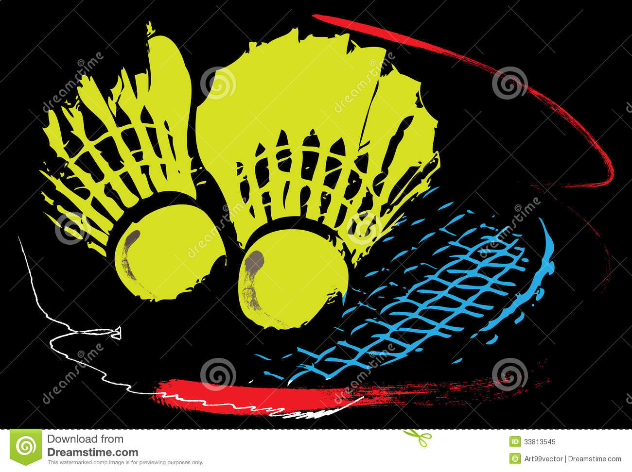 Creative graphic badminton racket on black background decoration.Paint ...