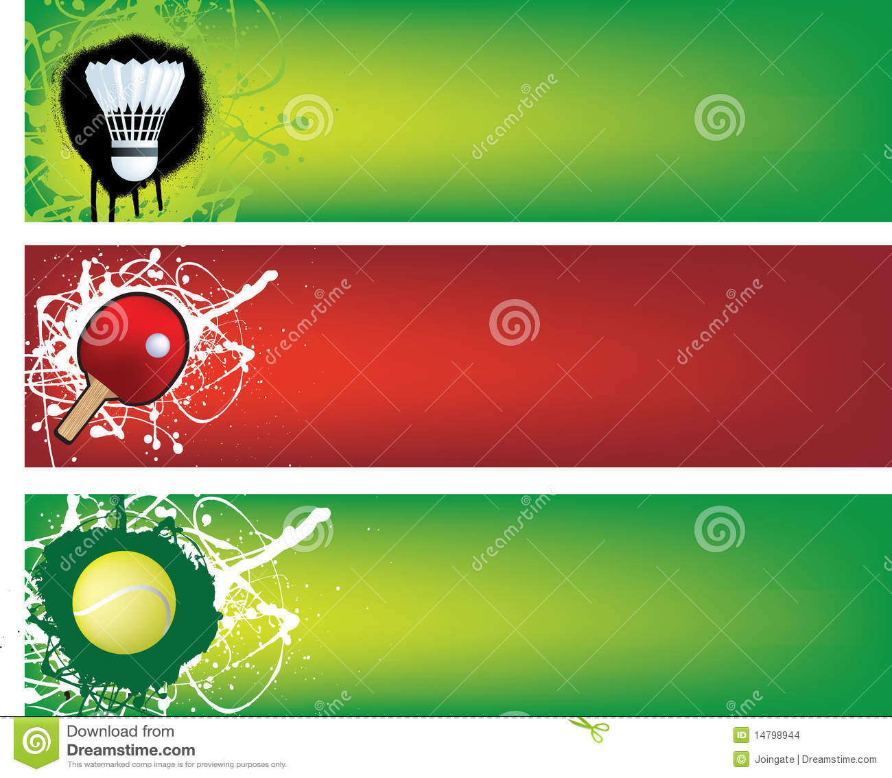 Badminton Table Tennis And Tennis Banners Stock Images