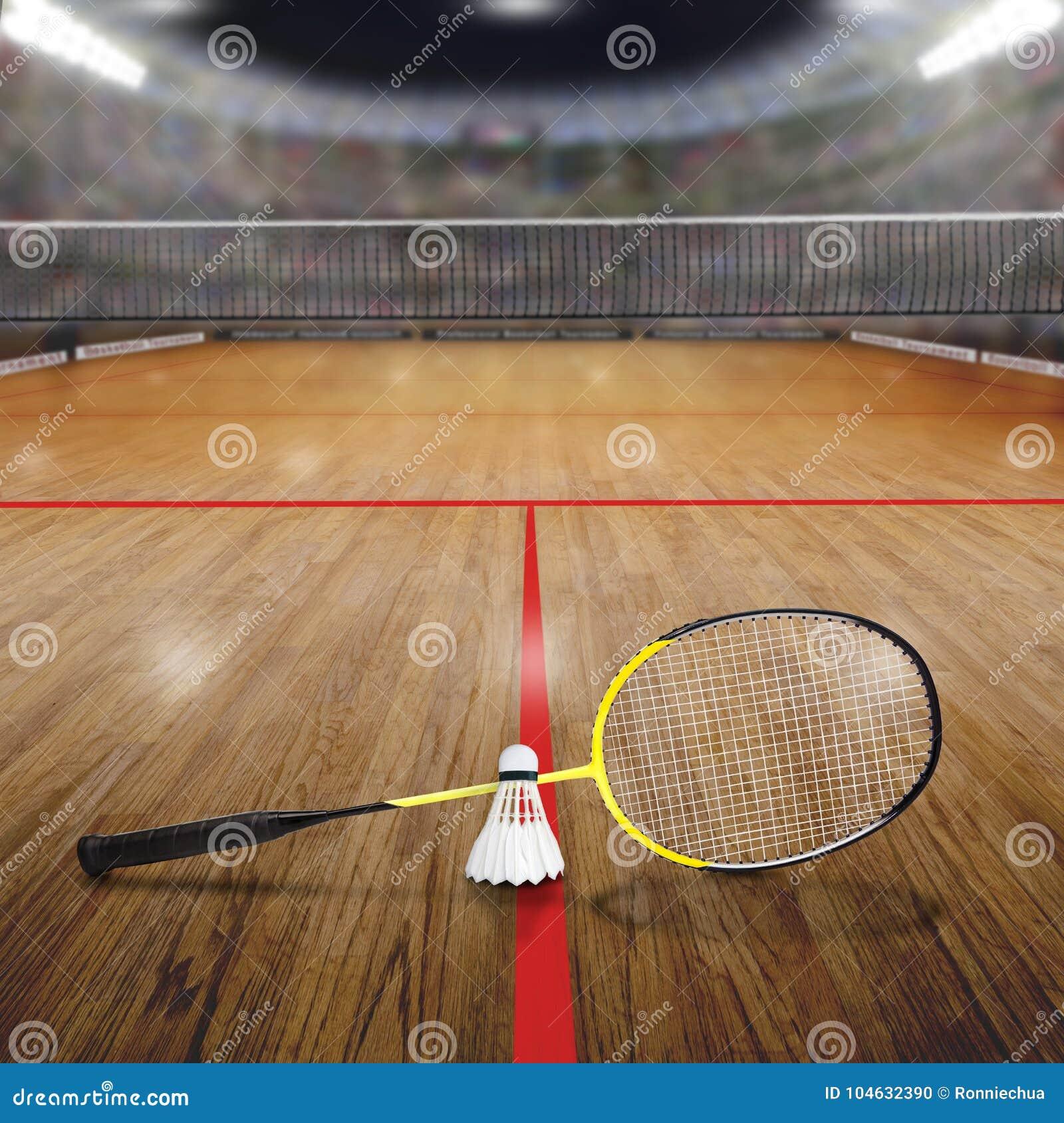 Download Badmintonhof Met Shuttle Op Houten Vloer En Exemplaarruimte Stock Foto - Afbeelding bestaande uit gloed, schijnwerpers: 104632390