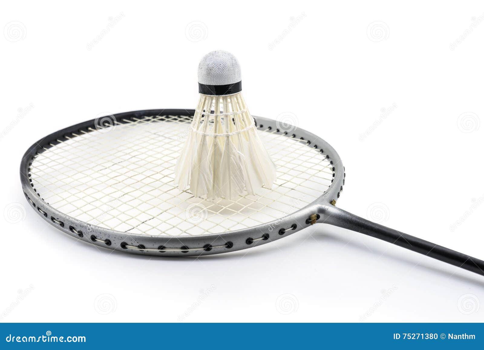 Badmintonracket och gammal fjäderboll