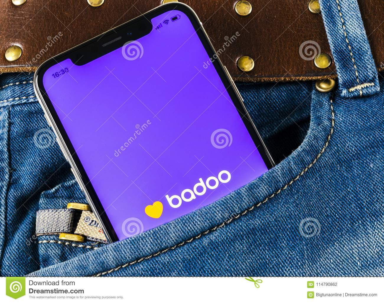 Badoo Application Icon On Apple IPhone X Screen Close-up In