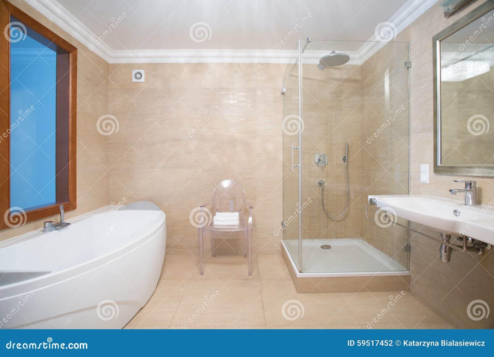 Badrum med badkaret och duschen vektor illustrationer   bild: 62828026