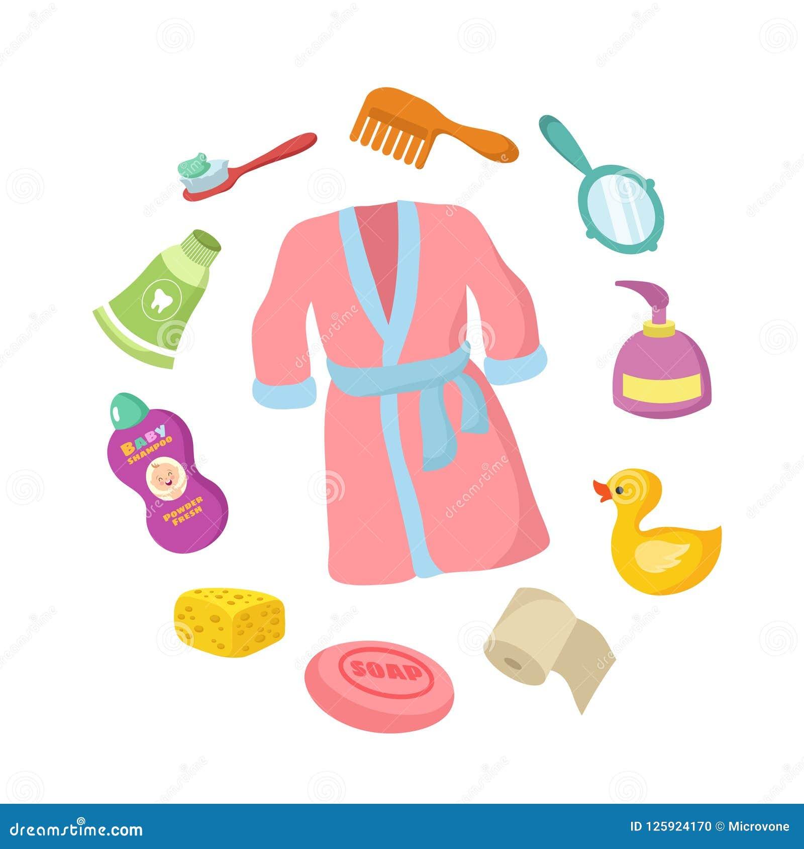 Badrummet accessorises tecknad filmvektoruppsättningen Behandla som ett barn hygien