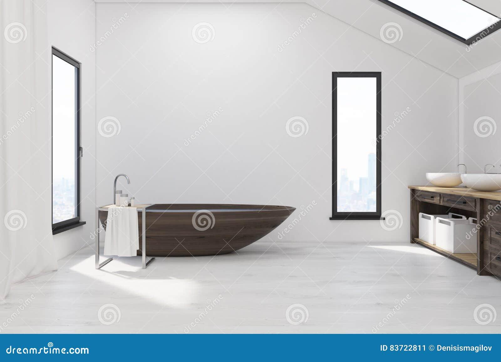 Badrummet i loft med trä badar