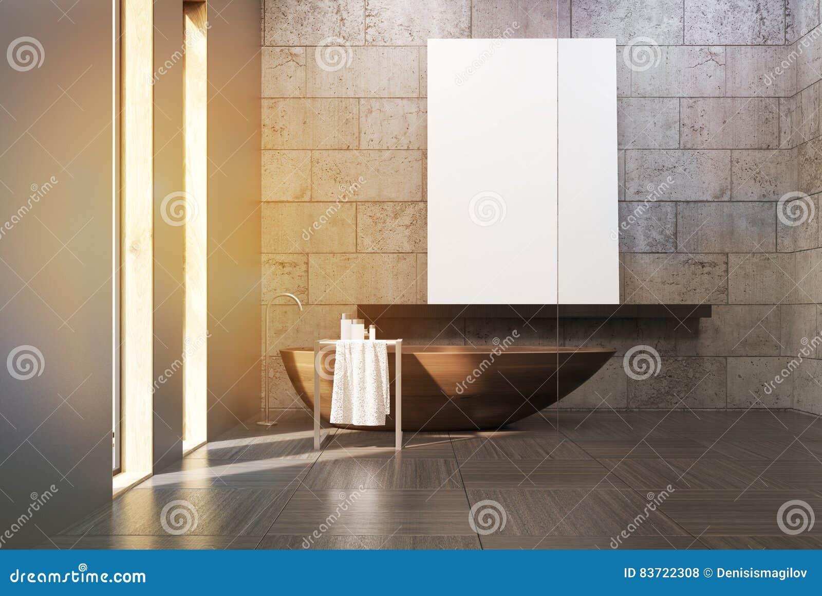 Badrummet med trä badar och affischen