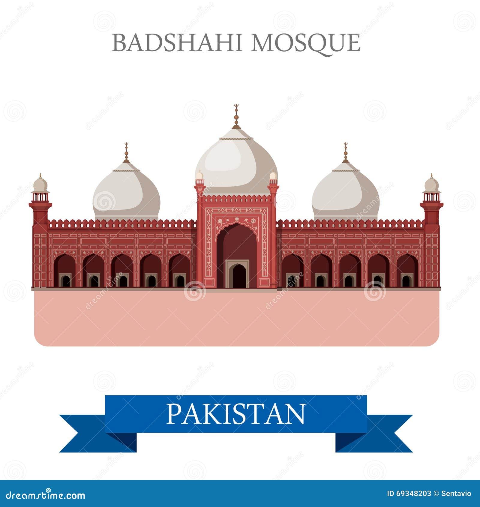 Badshahi Mosque Lahore Pakistan Vector Flat Attraction