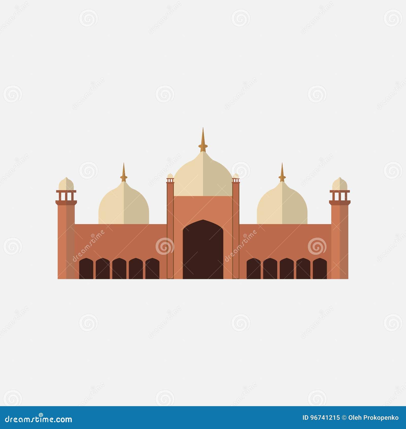 Badshahi Mosque stock vector  Illustration of landmark