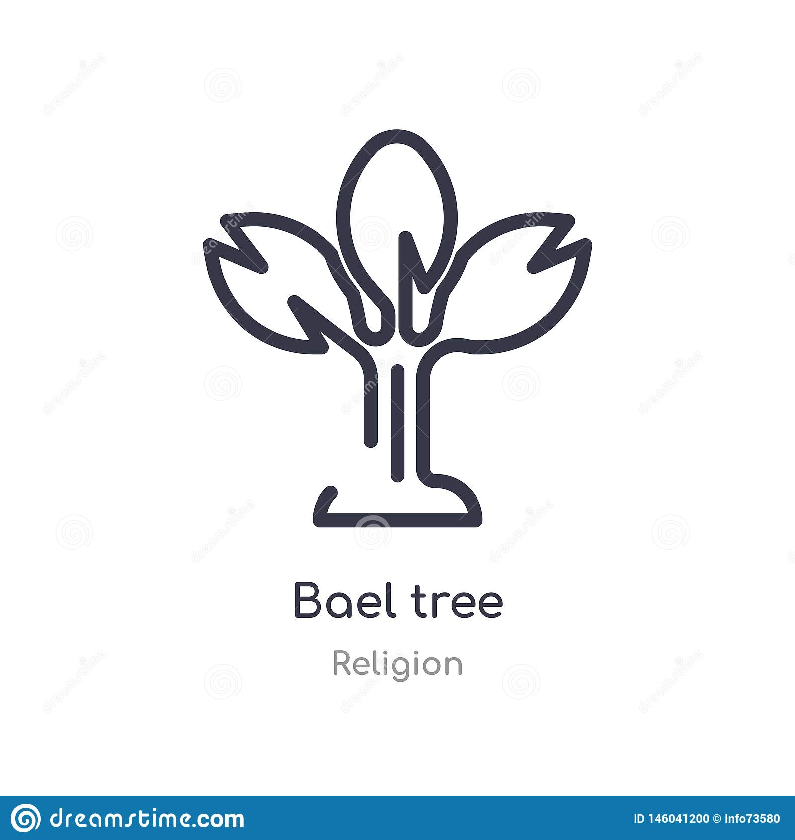 bael tree outline icon. isolated line vector illustration from religion collection. editable thin stroke bael tree icon on white