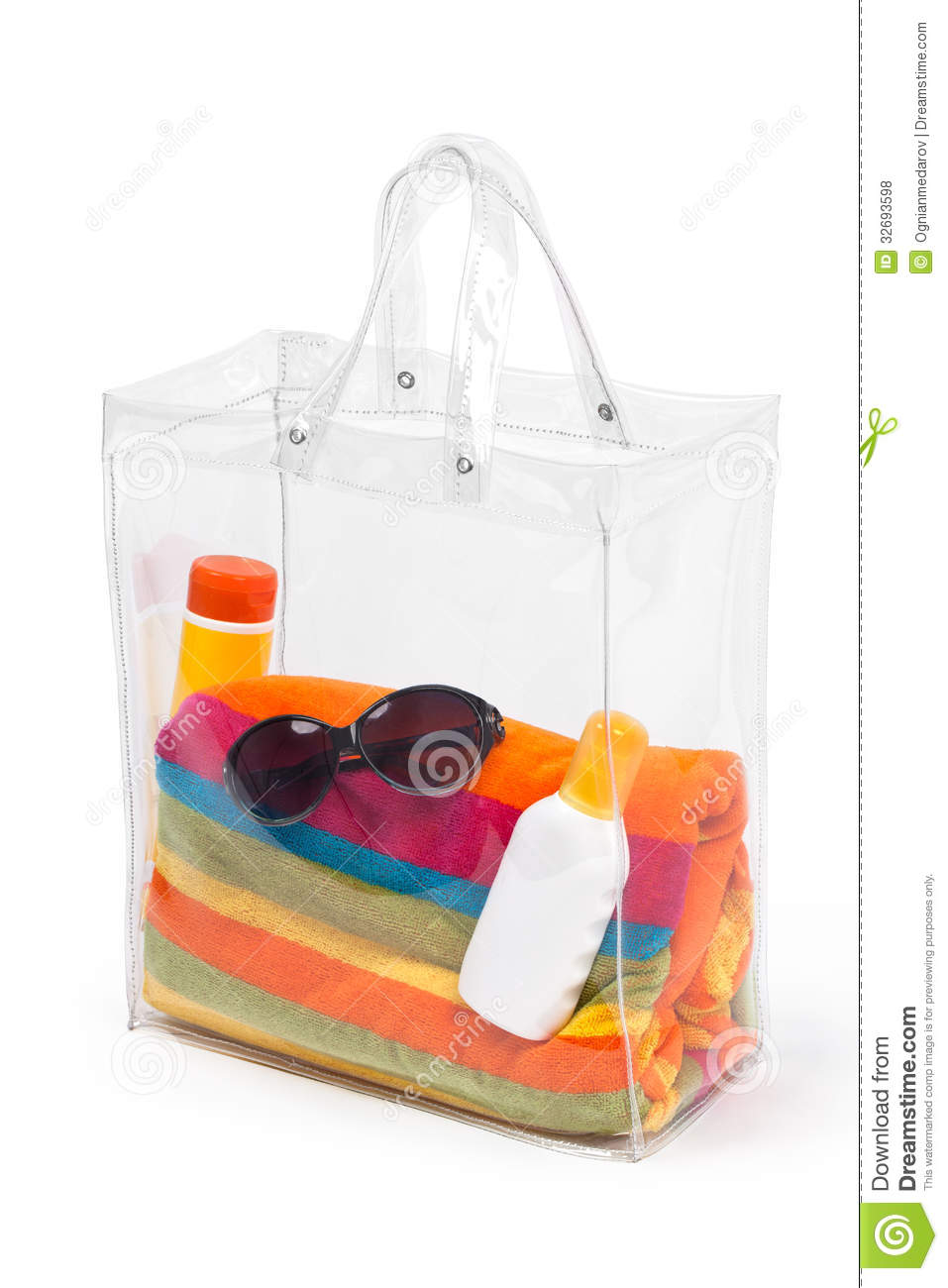 Bag With Beach Accessories stock photo. Image of studio ...
