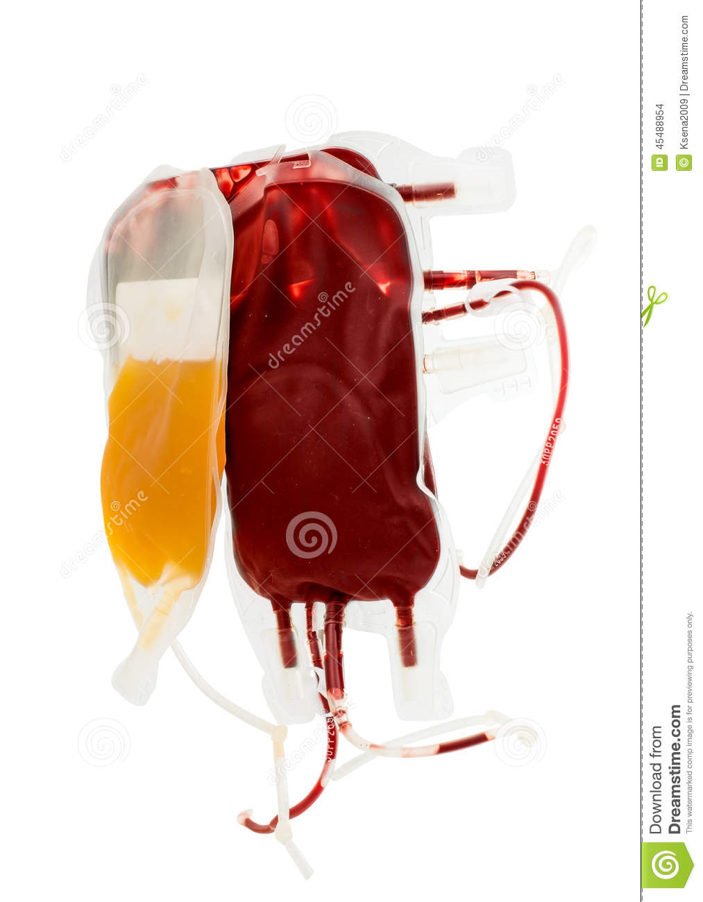 Bag Of Blood And Plasma On White Stock Photo - Image: 45488954