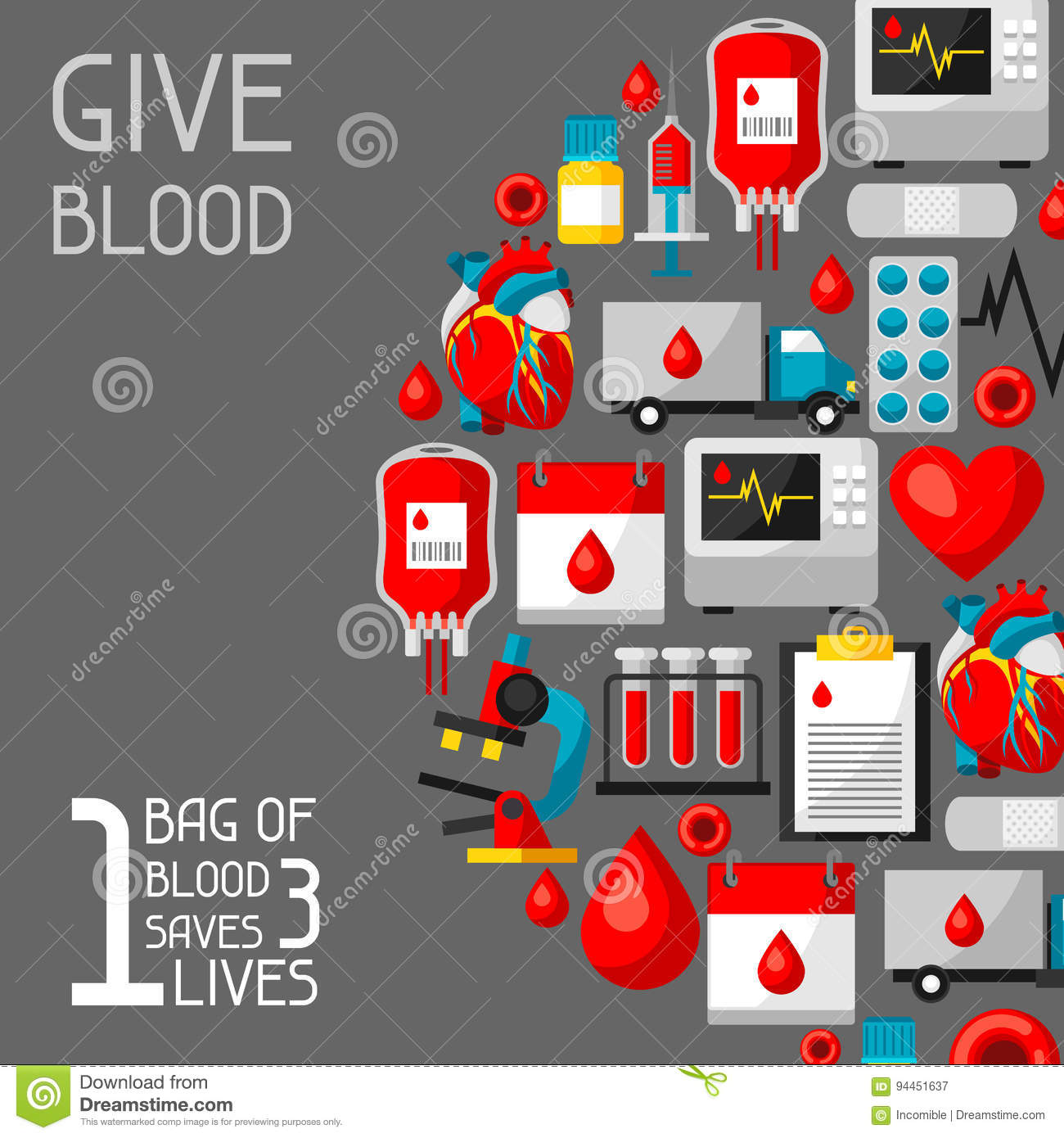 1 Bag Of Blood Saves 3 Lives. Background With Blood ...