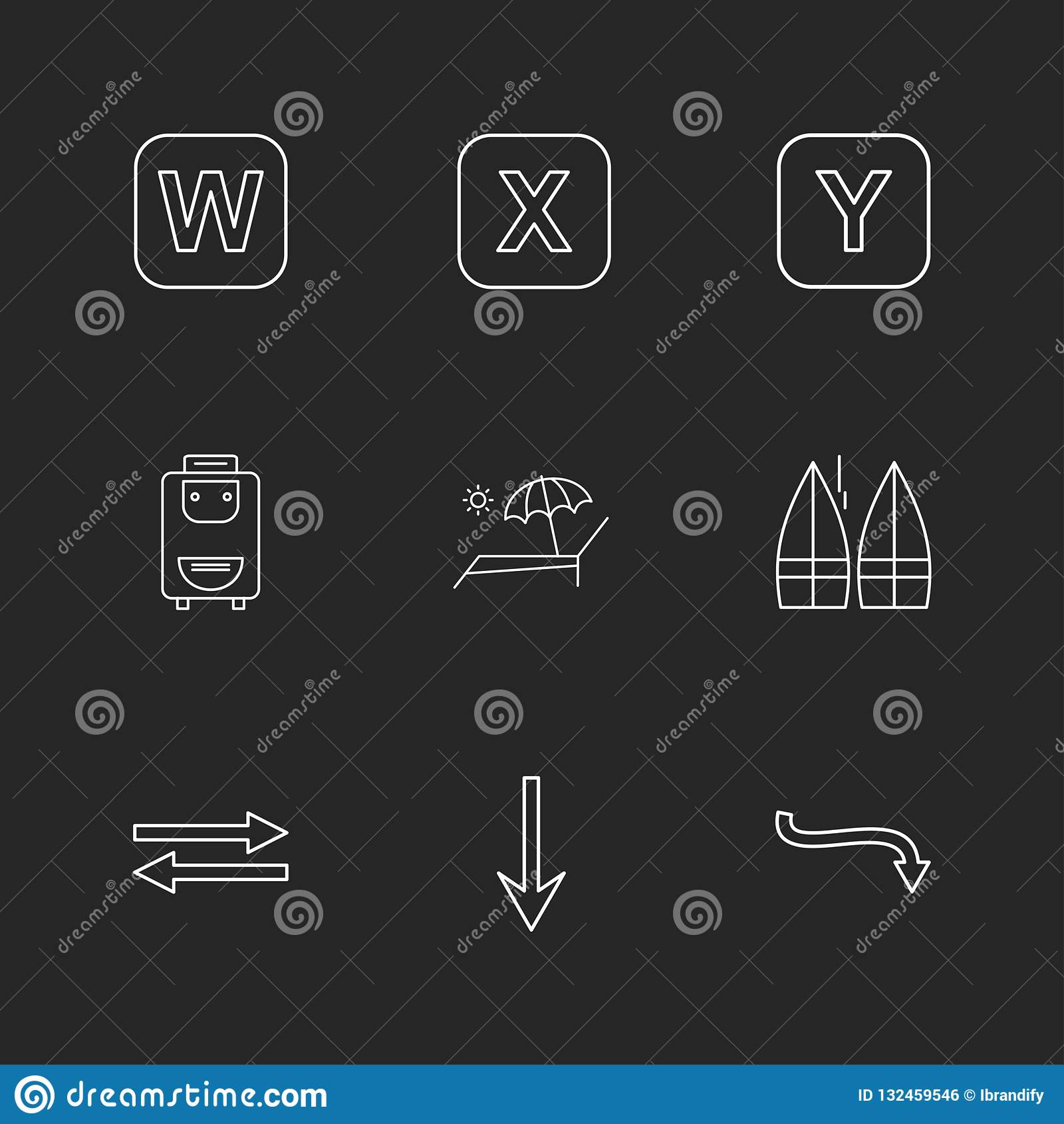 Bag , boats , alphabets , sea , food , picnic , summer , eps icons set vector