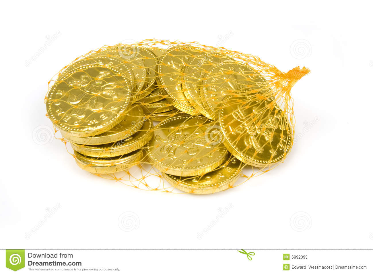 Bag Of Chocolate Penny Coins Stock Image - Image of pile