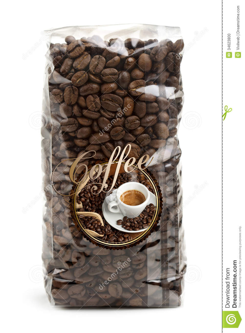 bag of coffee beans stock photo image 34623800