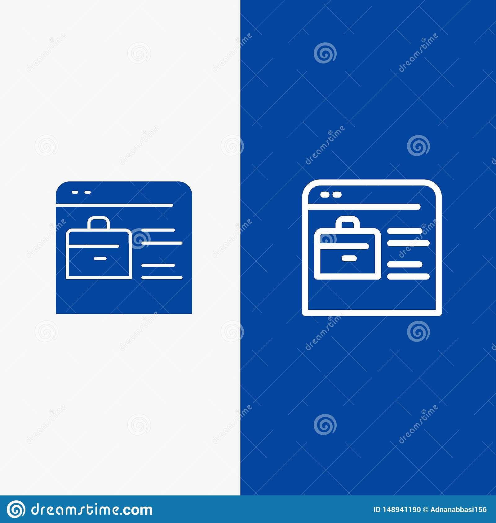 Bag Find Job Job Website Online Portfolio Line And Glyph Solid Icon Blue Banner Line And Glyph Solid Icon Blue Banner Stock Vector Illustration Of Blog Icon 148941190