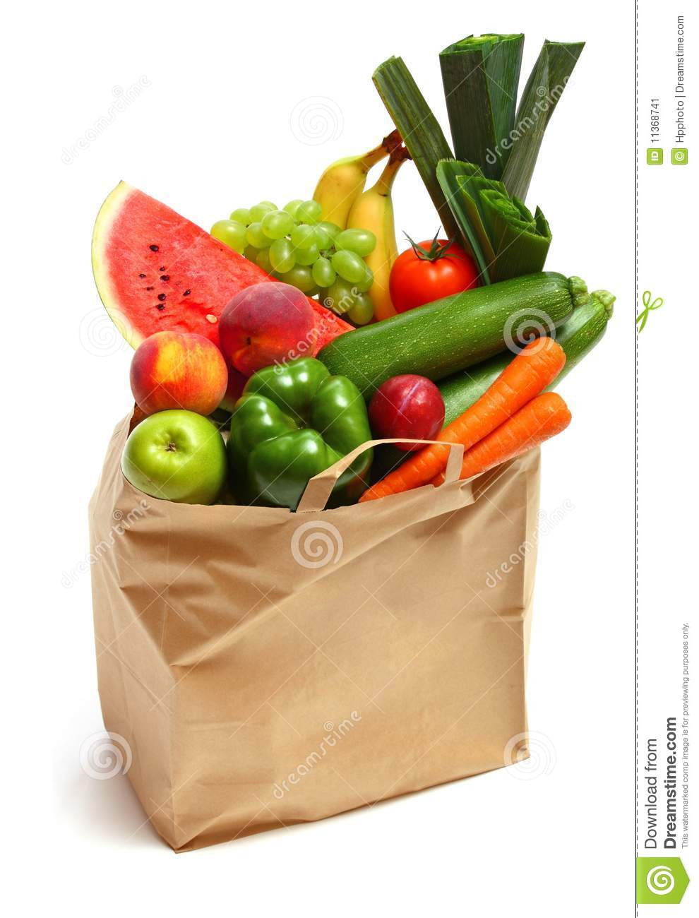 bag full of healthy fruits and vegetables stock image image of
