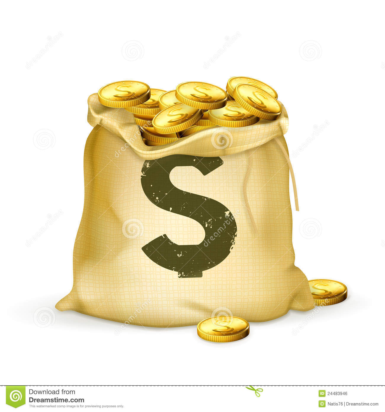 Bag Of Gold Royalty Free Stock Image - Image: 24483946