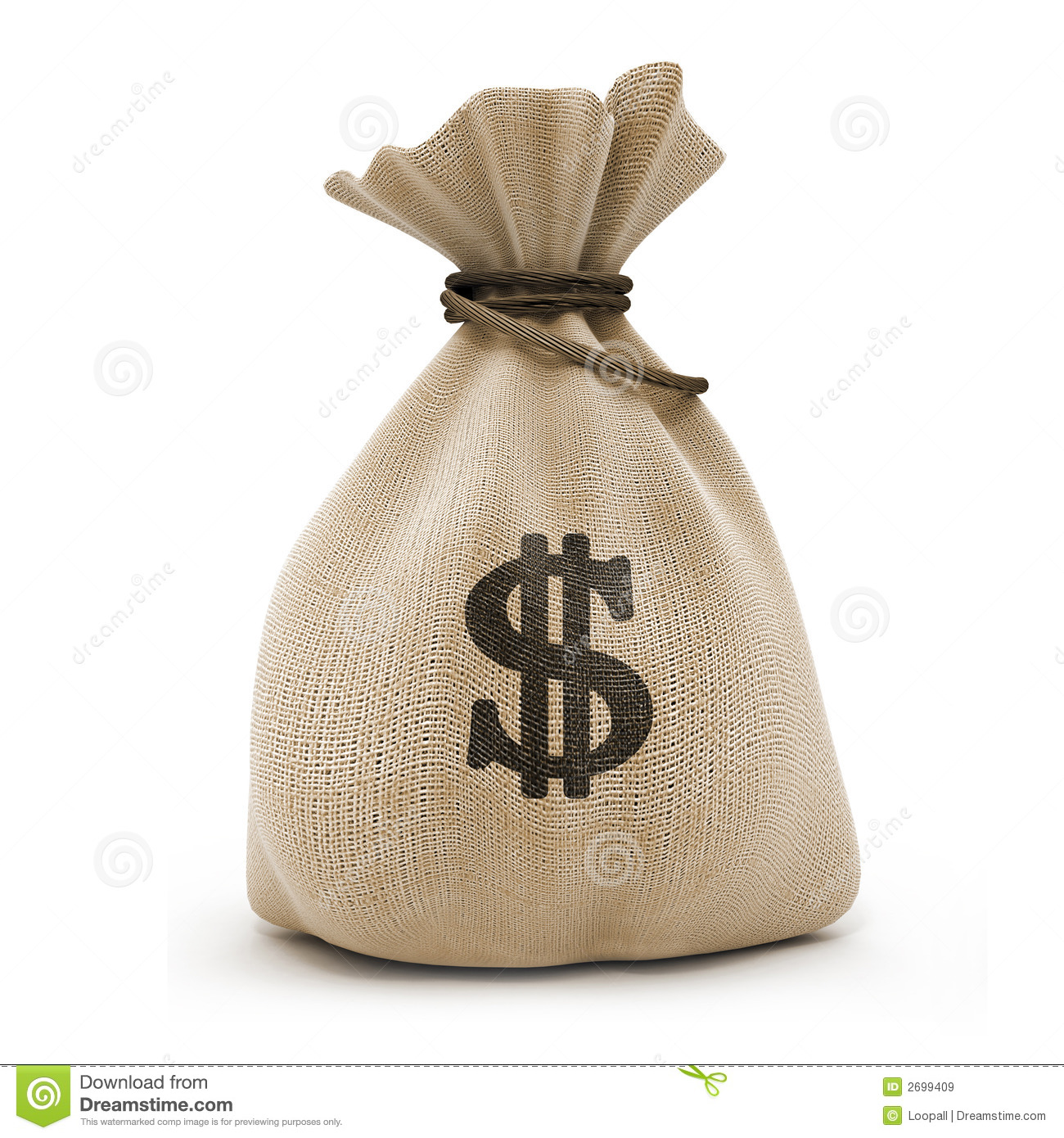 Sack with money dollar currency isolated with clipping path inckuded.