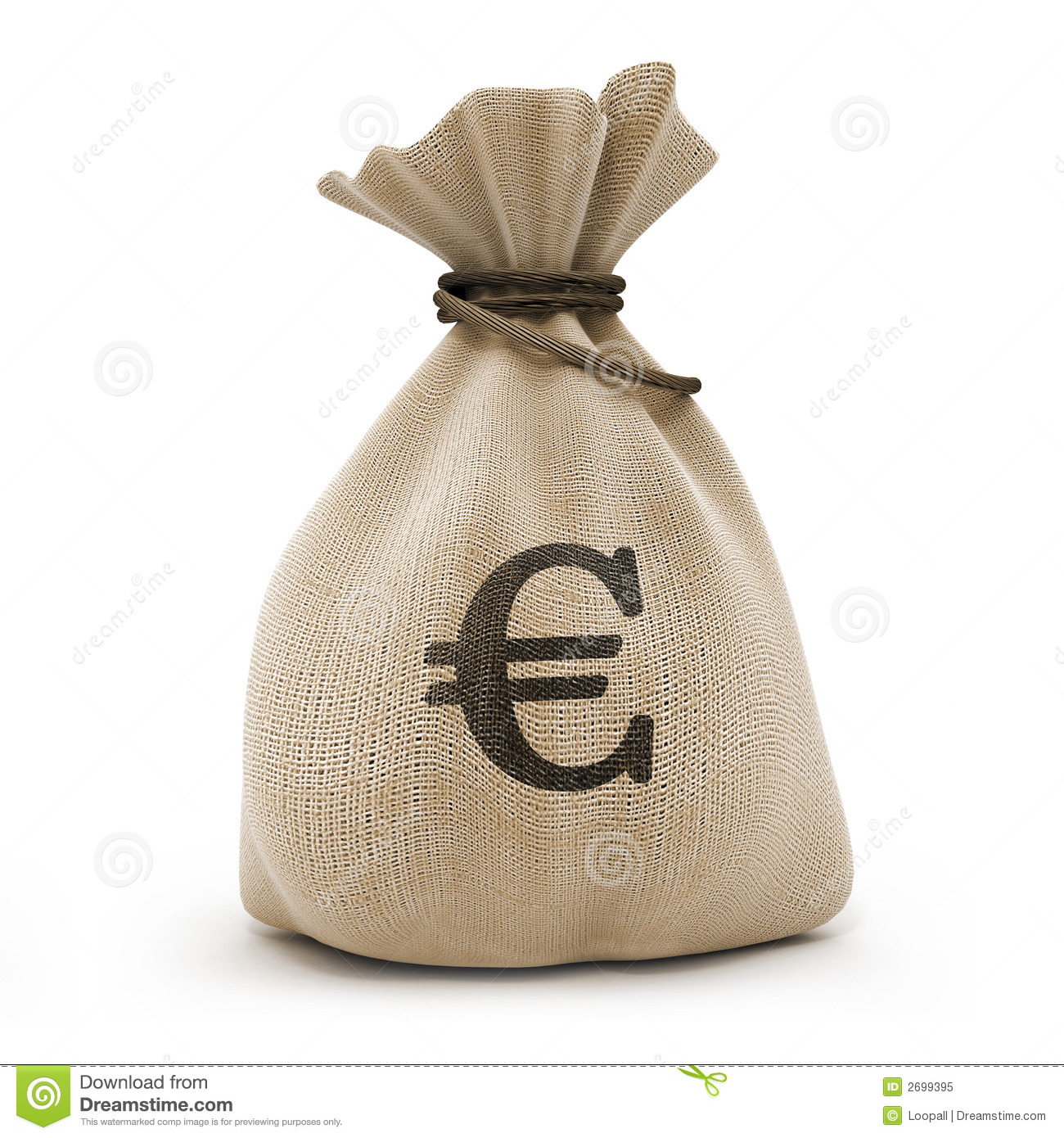 Sack with money euro currency isolated with clipping path inckuded.