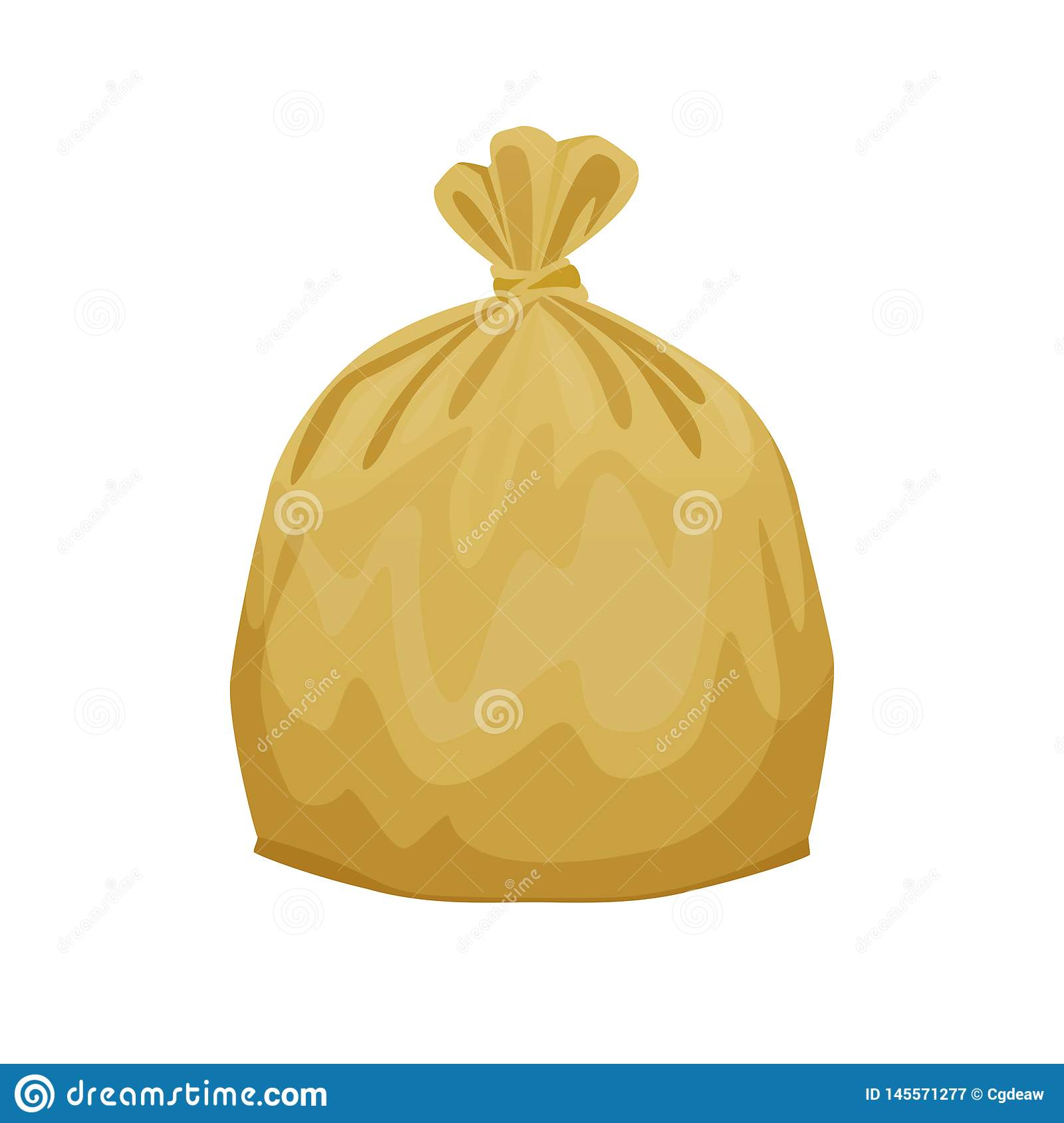 Bag Plastic Waste Yellow Gold Isolated On White Background