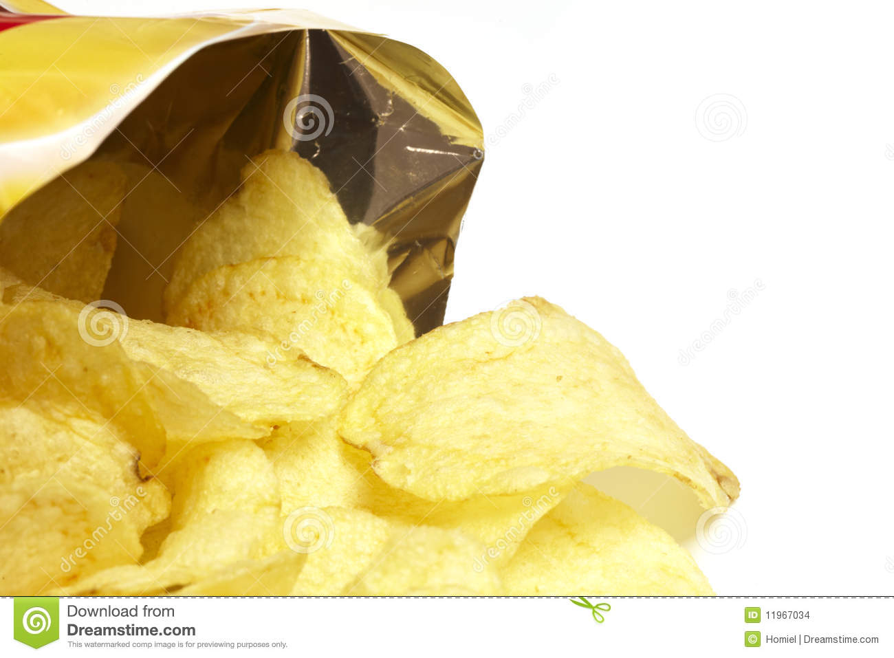 Bag of potato chips stock images image