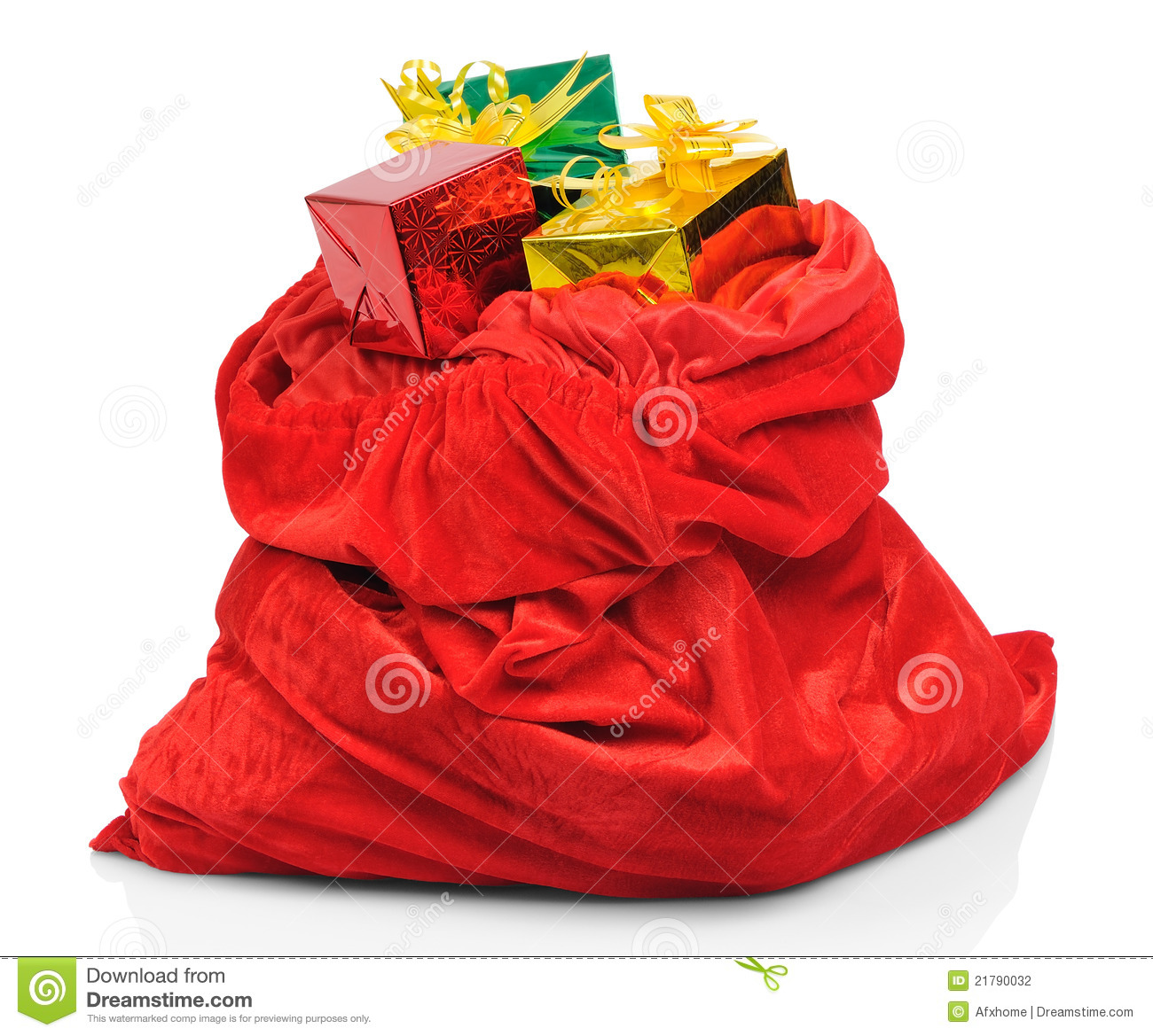 Bag of santa claus with gifts stock photo image