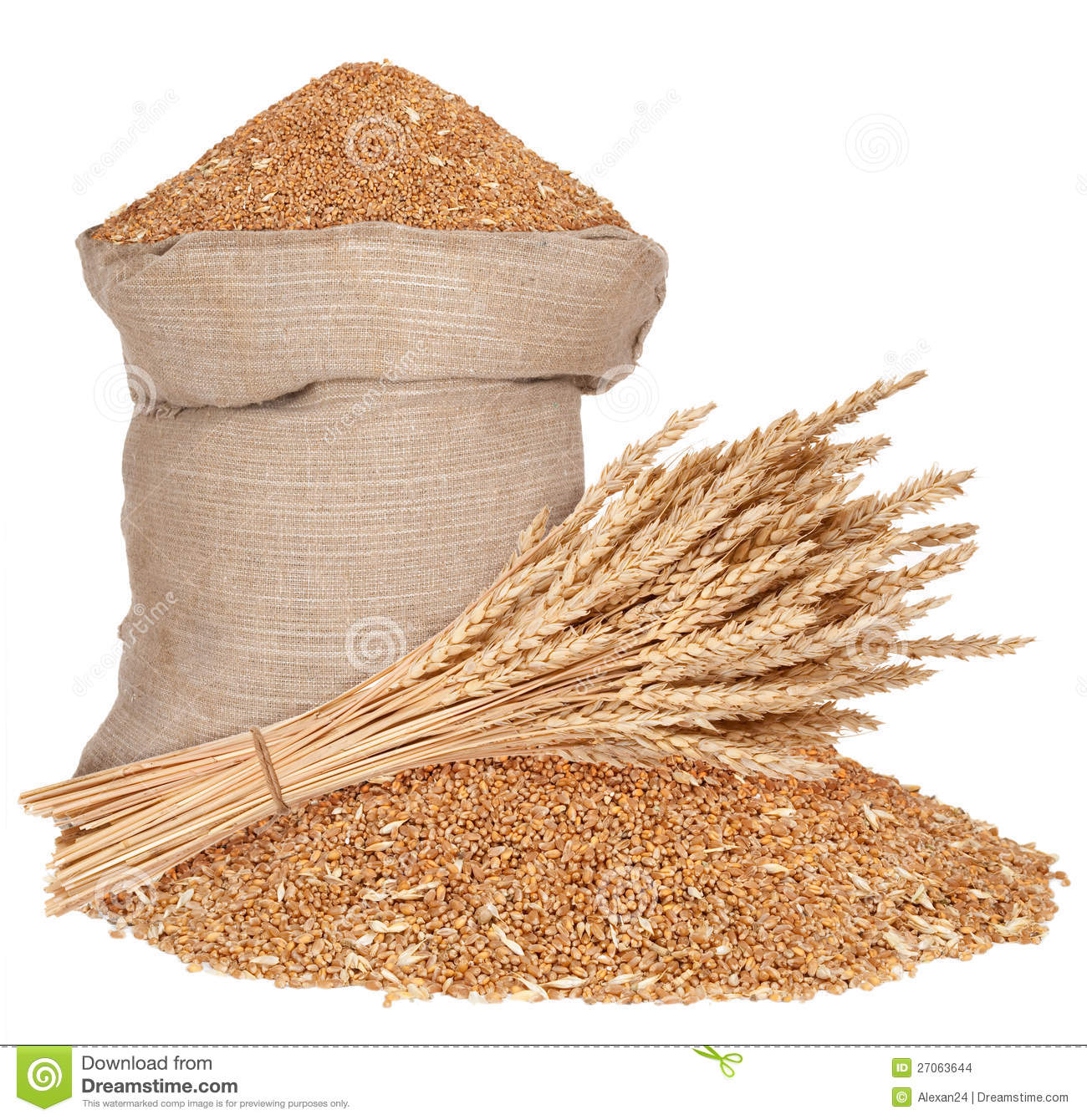 Bag And A Sheaf Of Wheat Stock Images - Image: 27063644