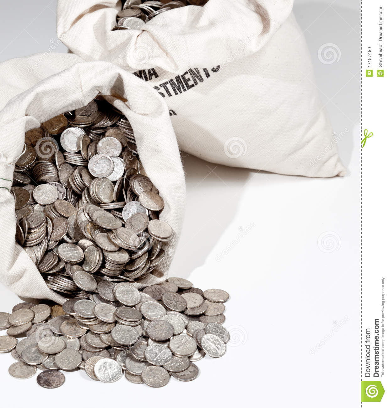 Bag Of Silver Coins Stock Photo Image 17157480
