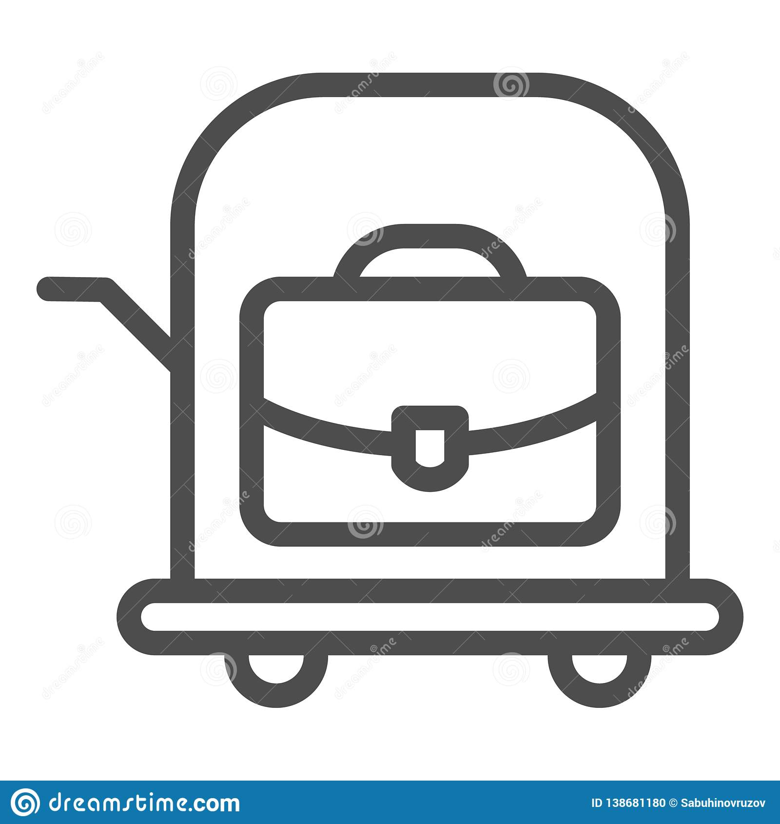 Bag on trolley line icon. Luggage cart vector illustration isolated on white. Suitcase on cart outline style design