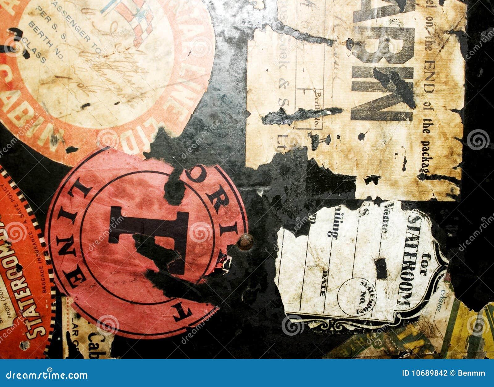 Bagażu znaczków podróży rocznik