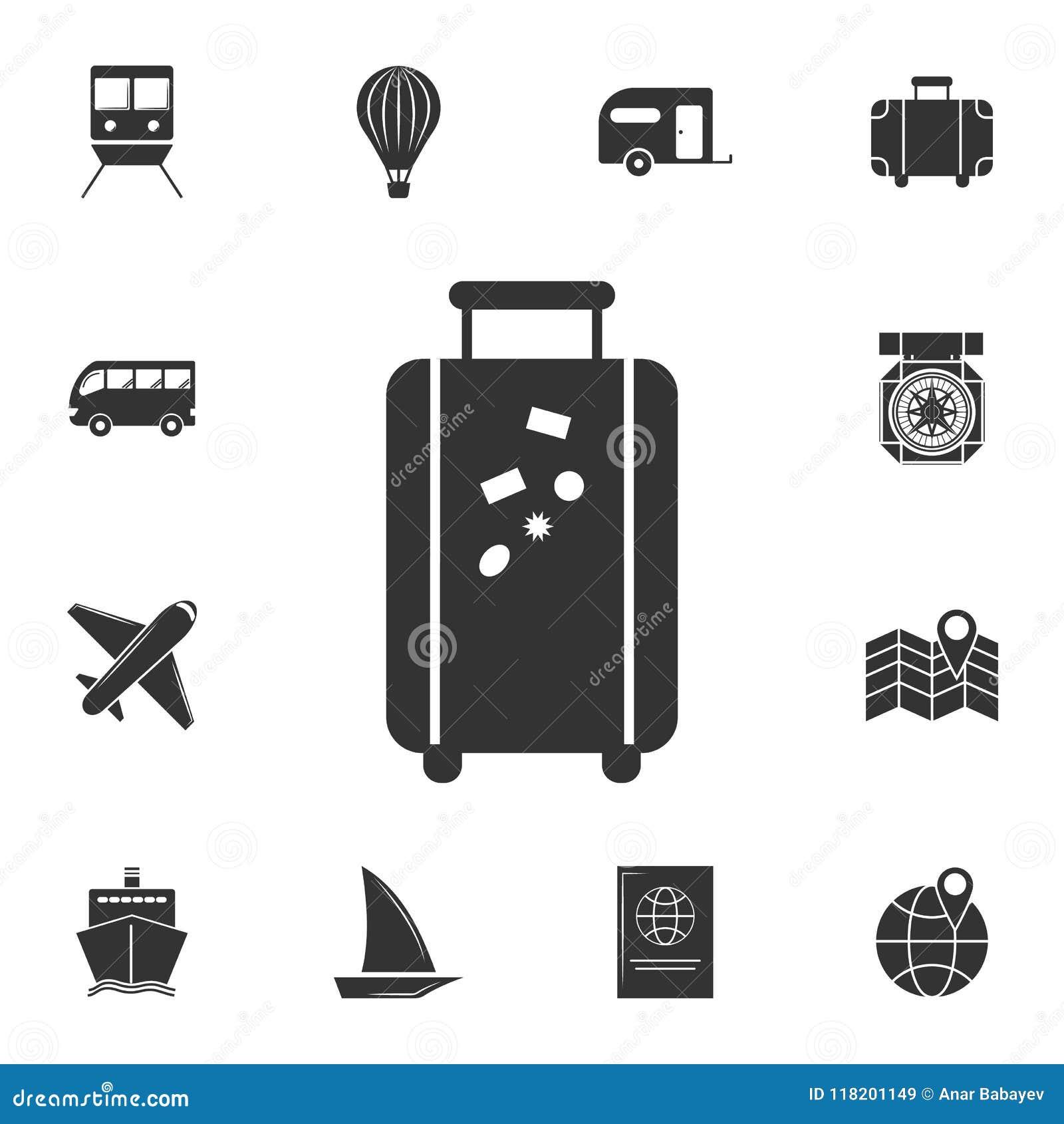 Bagagepictogram Gedetailleerde reeks reispictogrammen Premie grafisch ontwerp Één van de inzamelingspictogrammen voor websites, W