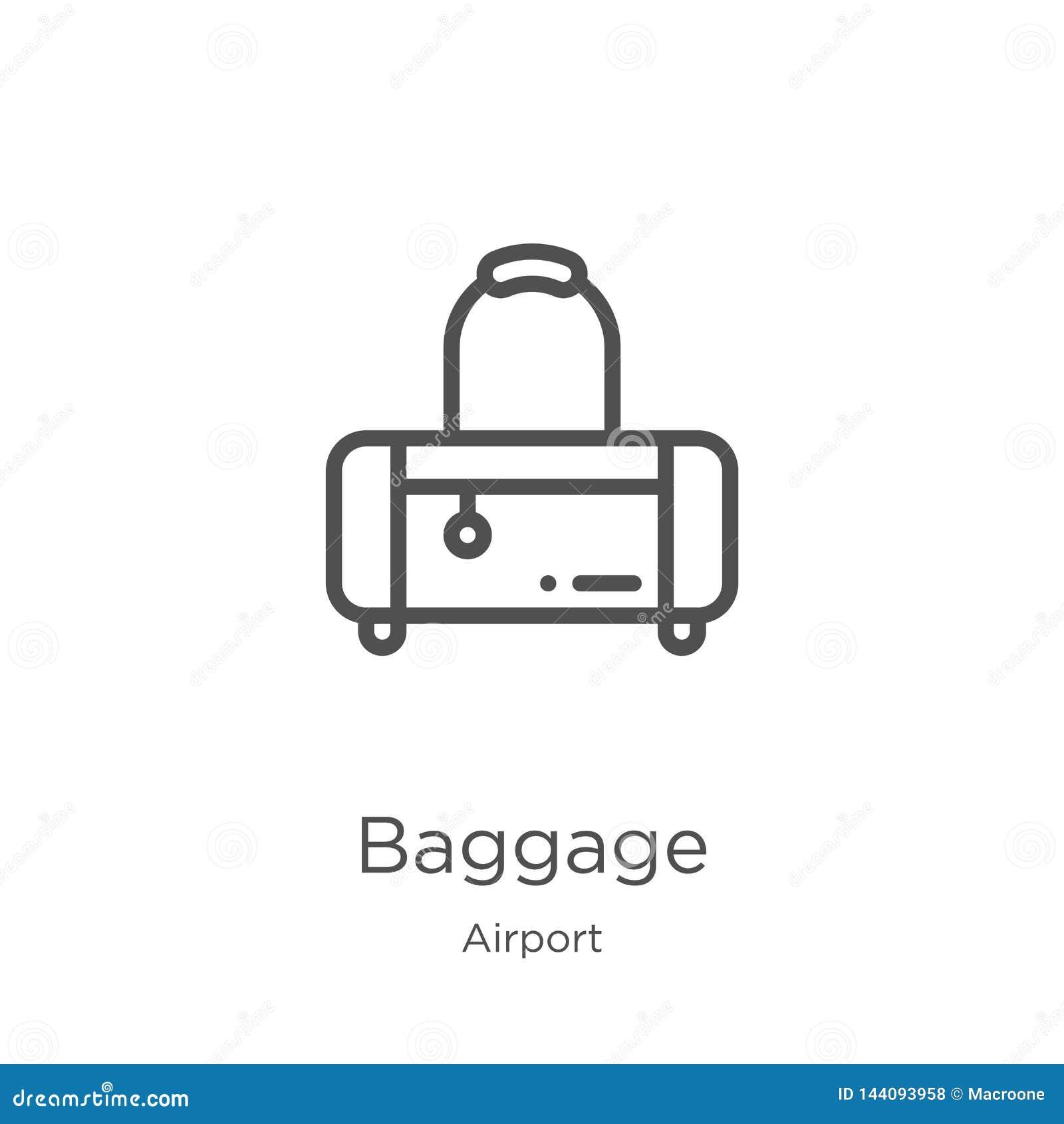 Bagagesymbolsvektor från flygplatssamling r Översikt tunn linje bagagesymbol