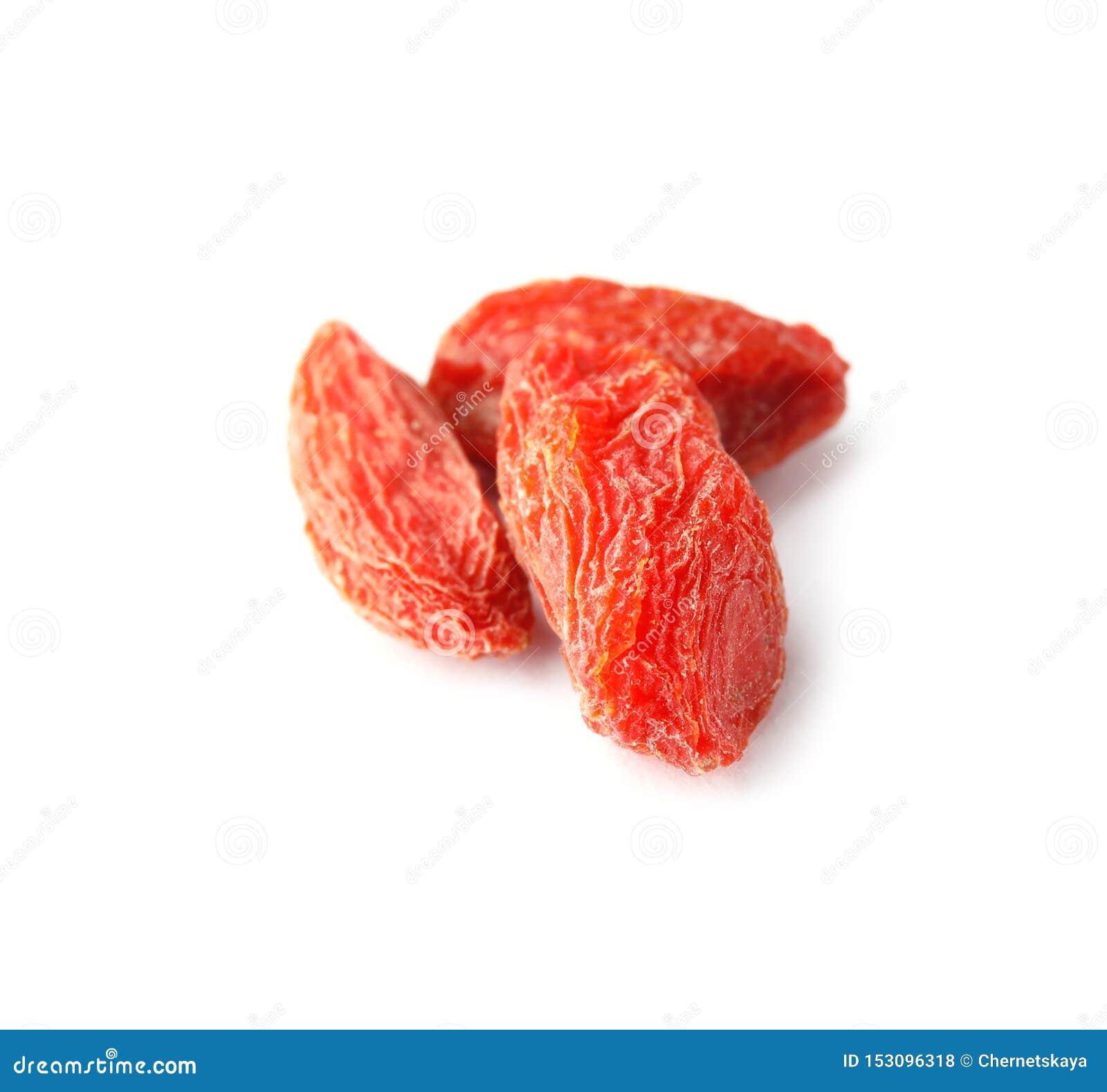 Bagas secadas saborosos do goji no branco