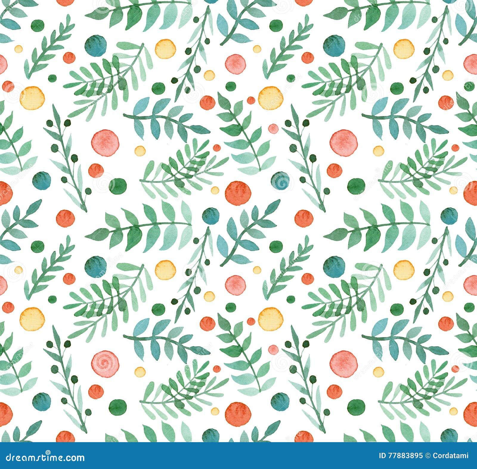 Bagas simples da aquarela, folhas do verde e Dots Repeat Pattern vermelho