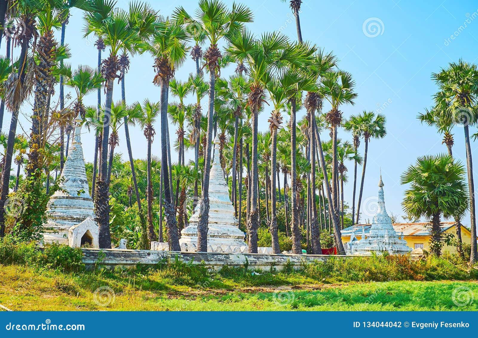 Bagaya Monastery In Tropic Garden Ava Myanmar Stock Photo