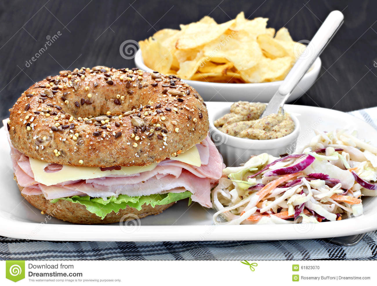 Bagel Ham, Cheese And Lettuce Sandwich With A Side A Spicy Musta Stock ...
